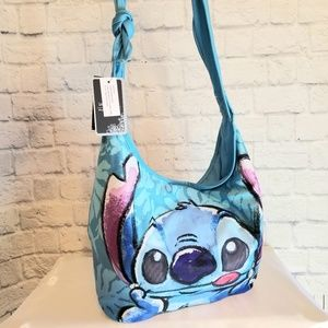 Loungefly Disney Stitch Face Blue Purse Tote Bag